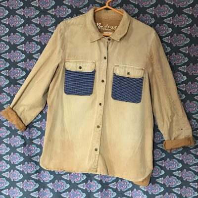 Yellow Customized Work Shirt with Cubist Face Patch