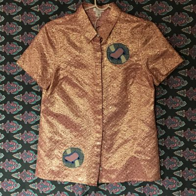 Metallic Rose Gold Sheep Patch Button Down Top