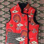 Red Double Breasted Eyeball Vest with Knot Closure